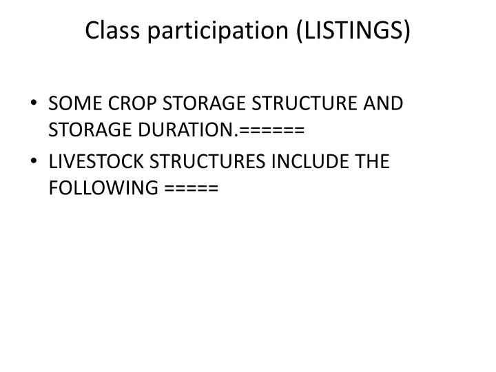 Class participation (LISTINGS)