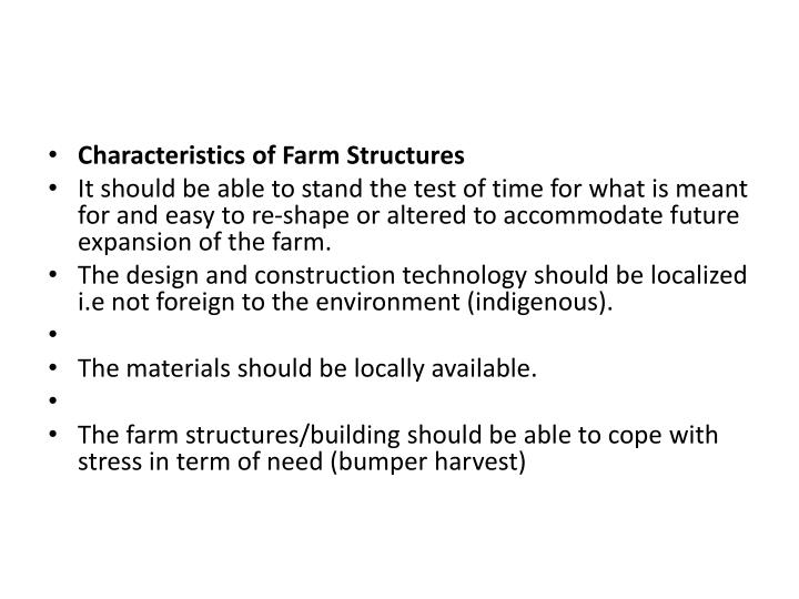 Characteristics of Farm Structures