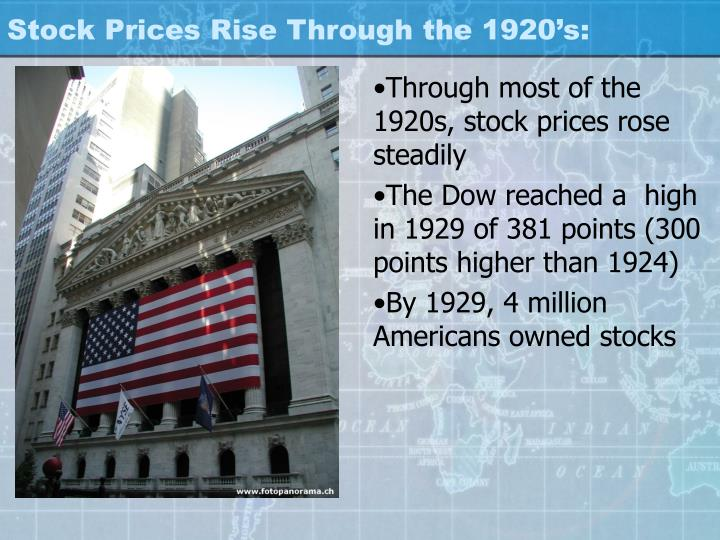 Stock Prices Rise Through the 1920's: