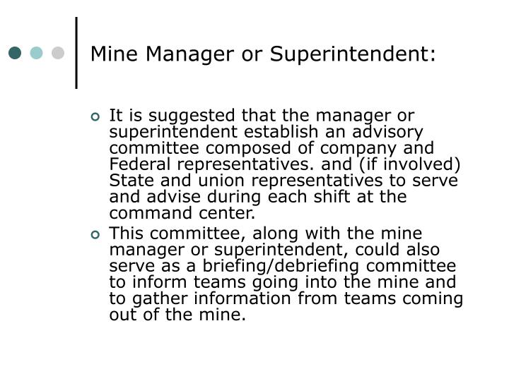 Mine Manager or Superintendent: