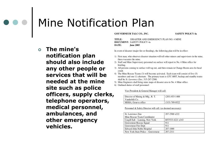 Mine Notification Plan