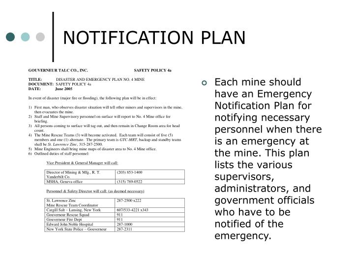 NOTIFICATION PLAN