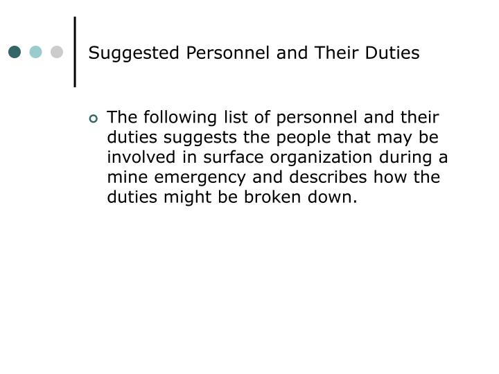 Suggested Personnel and Their Duties