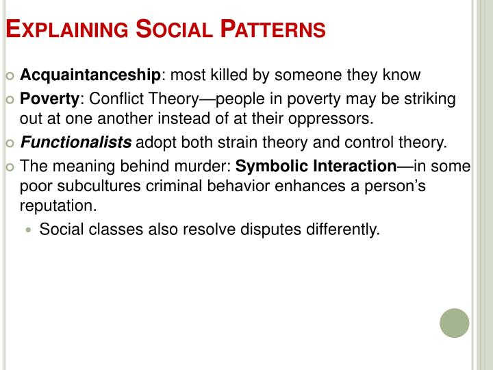 Explaining Social Patterns