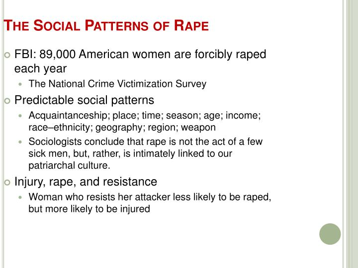 The Social Patterns of Rape