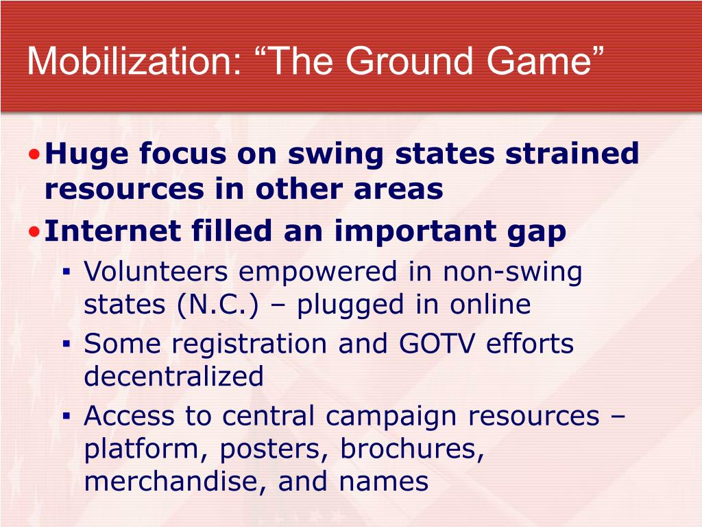 "Mobilization: ""The Ground Game"""