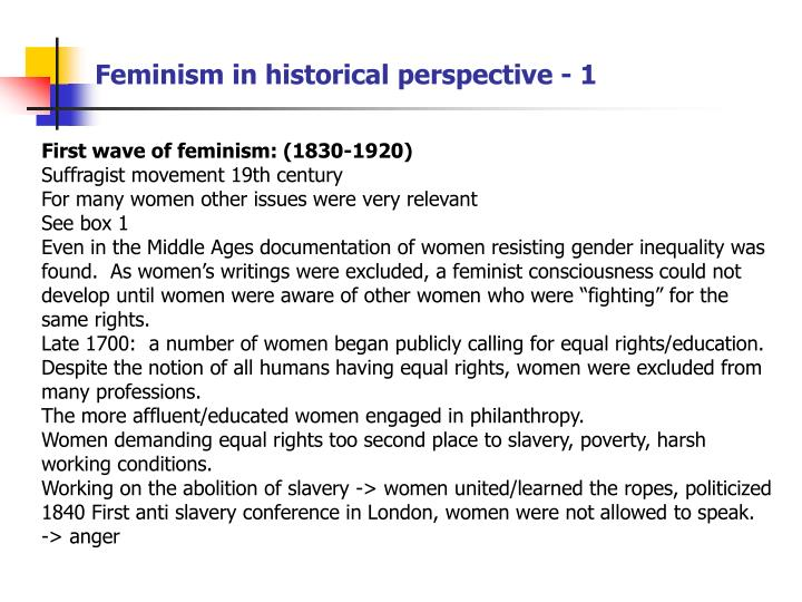 Feminism in historical perspective - 1