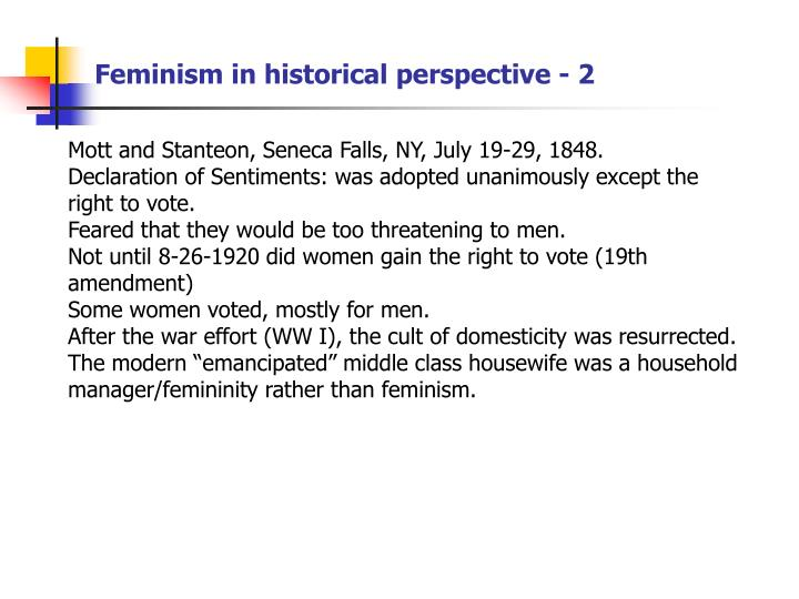 Feminism in historical perspective - 2
