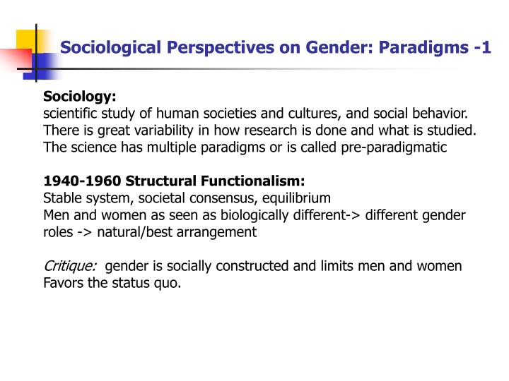 Sociological Perspectives on Gender: Paradigms -1