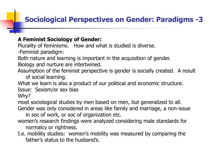 Sociological Perspectives on Gender: Paradigms -3