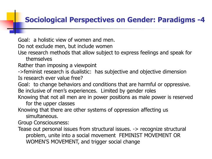 Sociological Perspectives on Gender: Paradigms -4