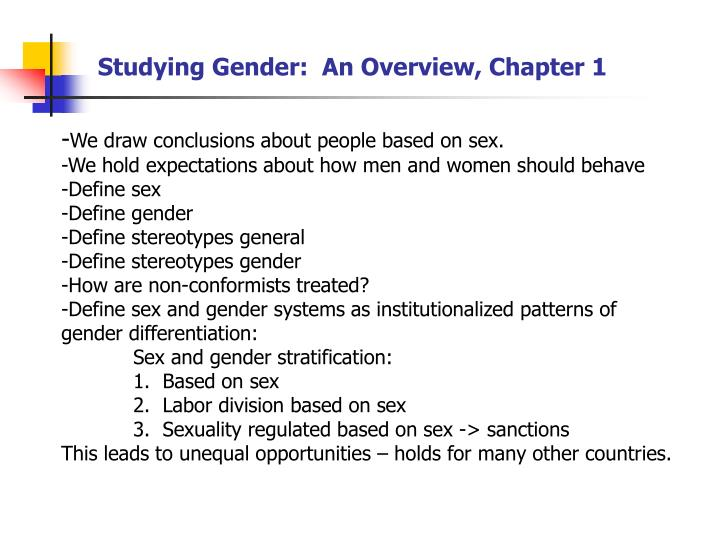 Studying Gender:  An Overview, Chapter 1