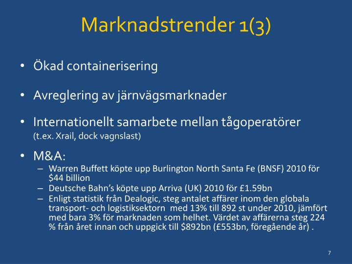 Marknadstrender 1(3)