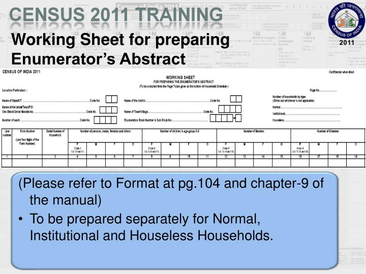 Working Sheet for preparing Enumerator's Abstract