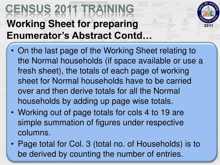 Working Sheet for preparing Enumerator's Abstract Contd…