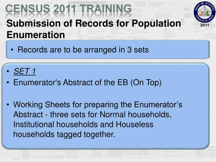 Submission of Records for Population Enumeration