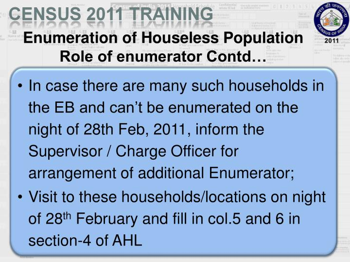 Enumeration of Houseless Population