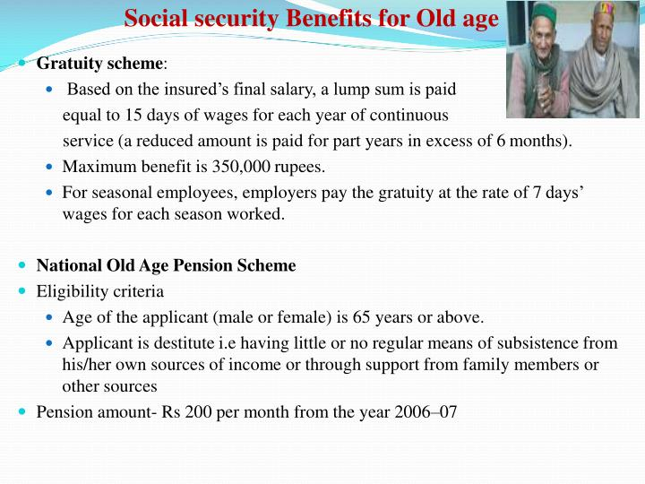 Social security Benefits for Old age