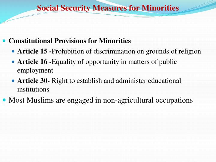 Social Security Measures for Minorities