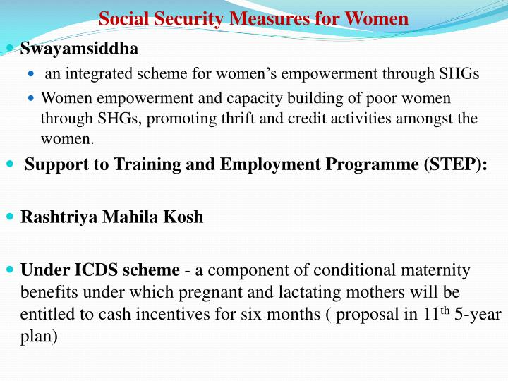 Social Security Measures for Women