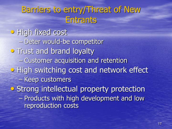 Barriers to entry/Threat of New Entrants