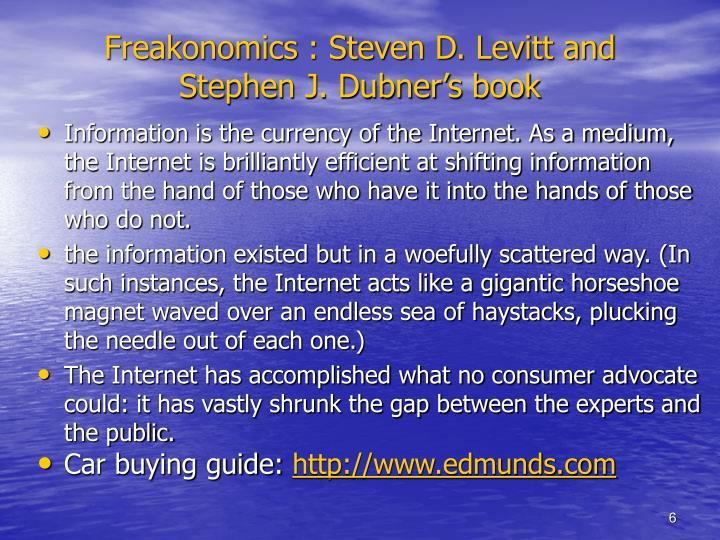 Freakonomics : Steven D. Levitt and Stephen J. Dubner's book