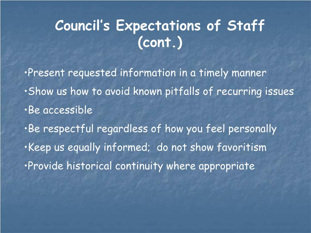 Council's Expectations of Staff