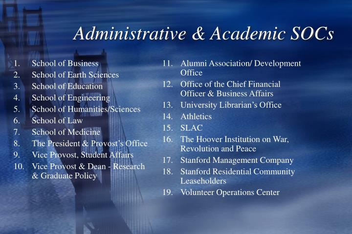 Administrative & Academic SOCs