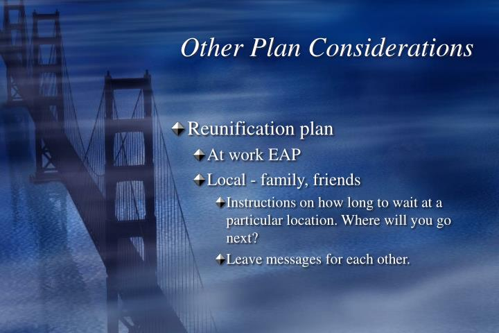 Other Plan Considerations