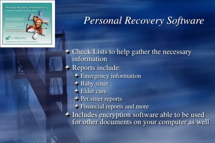 Personal Recovery Software
