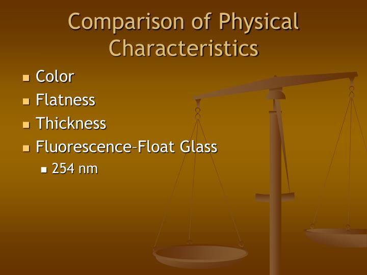 Comparison of Physical Characteristics