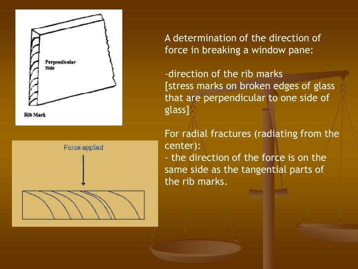 A determination of the direction of force in breaking a window pane: