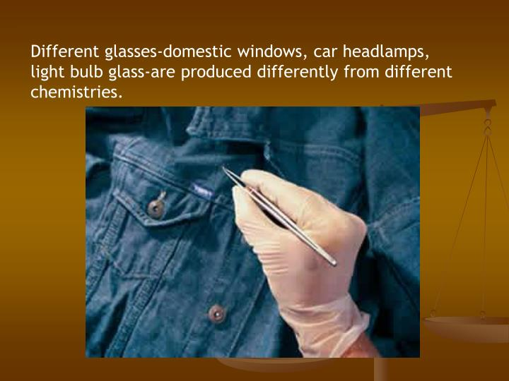 Different glasses-domestic windows, car headlamps, light bulb glass-are produced differently from different chemistries.