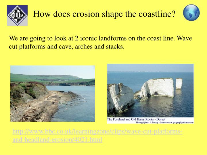 How does erosion shape the coastline?