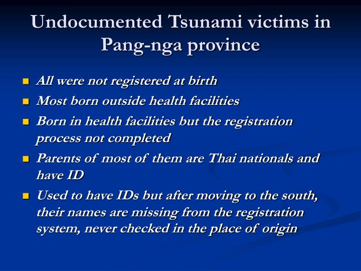 Undocumented Tsunami victims in Pang-nga province