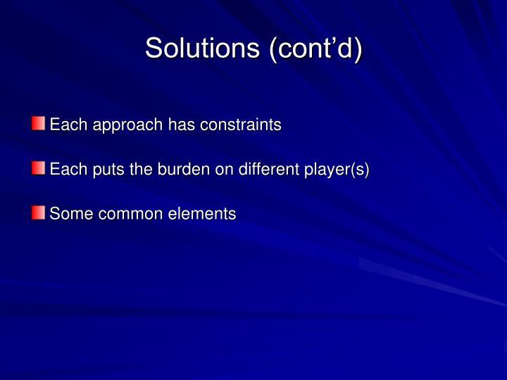 Solutions (cont'd)