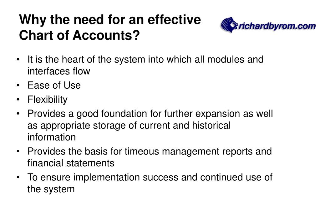 Why the need for an effective Chart of Accounts?