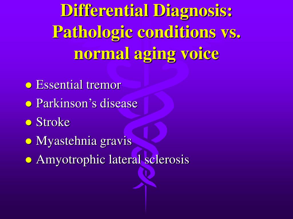 Differential Diagnosis: Pathologic conditions vs. normal aging voice