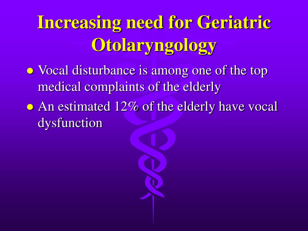 Increasing need for Geriatric Otolaryngology