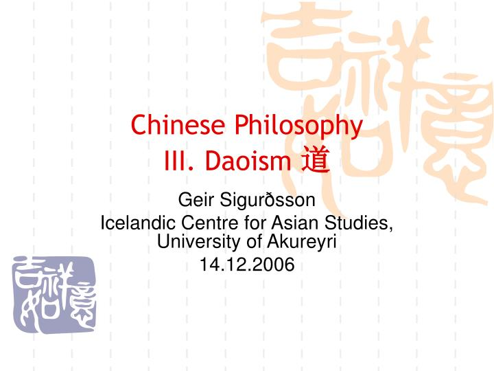 Chinese philosophy iii daoism