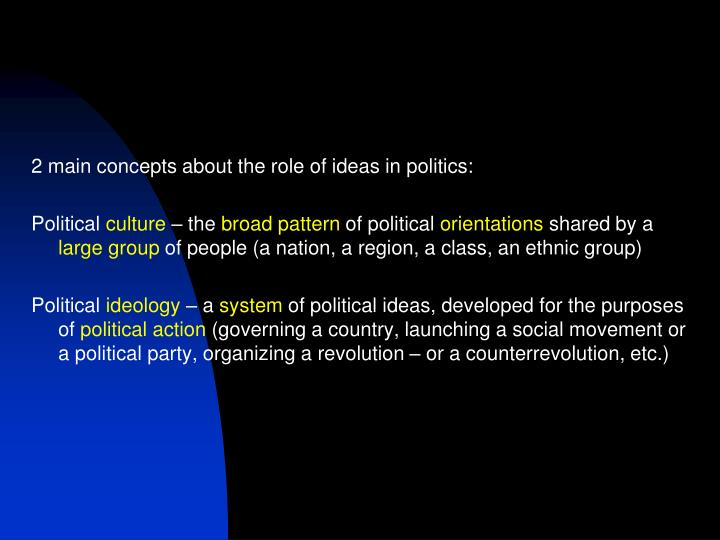 2 main concepts about the role of ideas in politics: