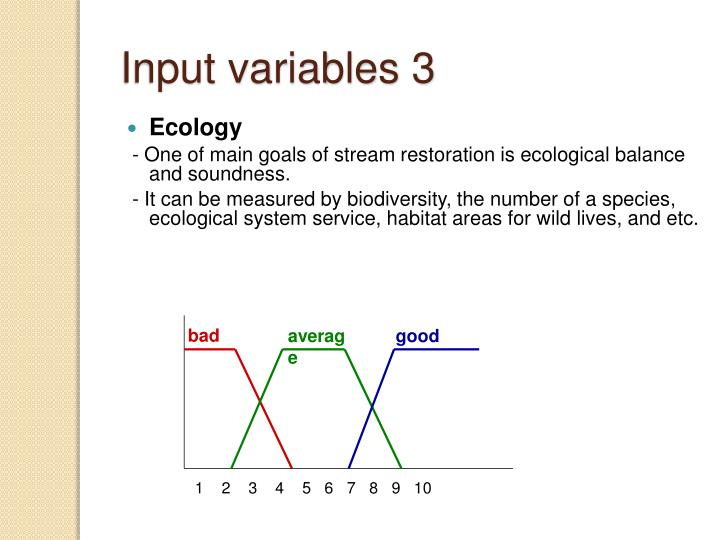 Input variables 3