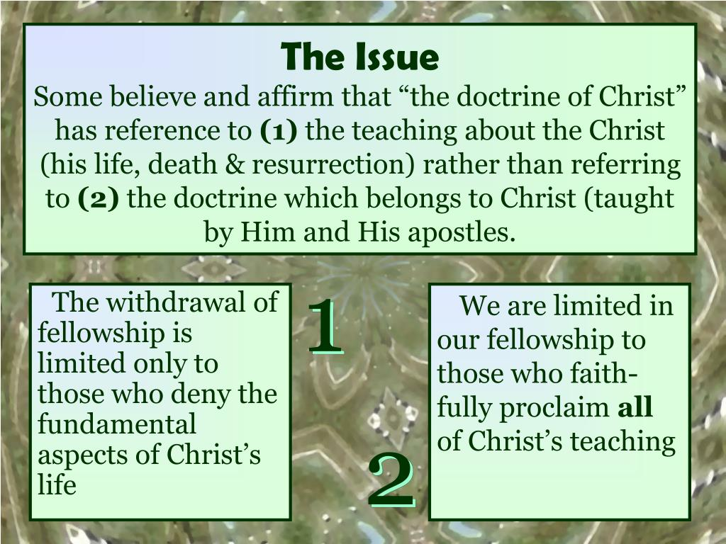 The withdrawal of fellowship is limited only to those who deny the fundamental aspects of Christ's life