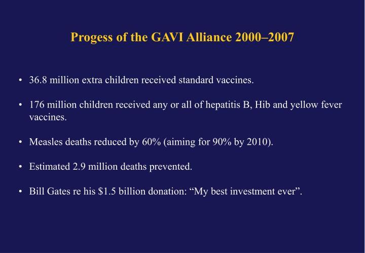 Progess of the GAVI Alliance 2000–2007
