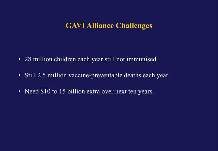 GAVI Alliance Challenges