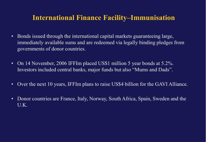 International Finance Facility–Immunisation