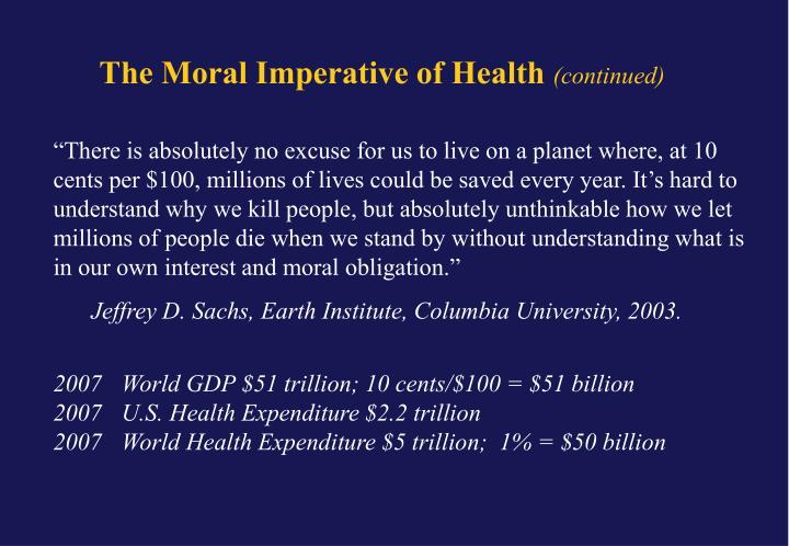 The Moral Imperative of Health