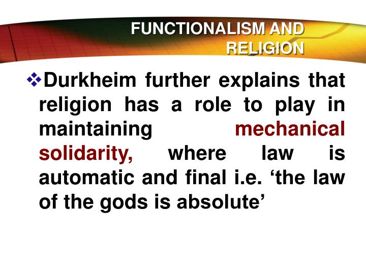 FUNCTIONALISM AND RELIGION