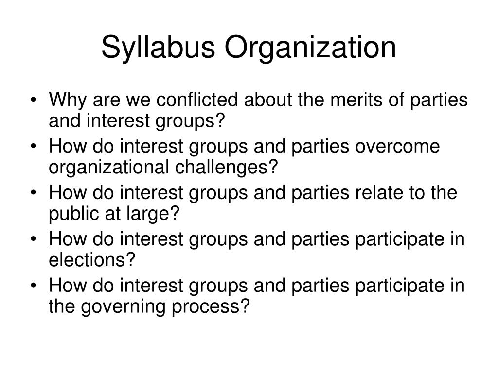 Syllabus Organization