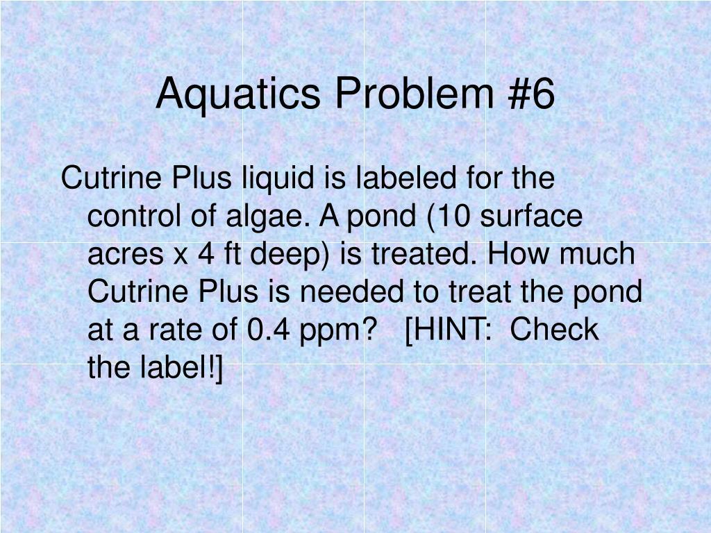 Aquatics Problem #6